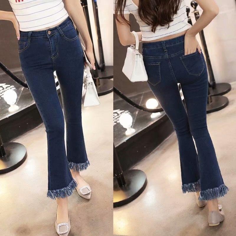 2019 Fashion High Waist Flare Women Jeans Denim Trousers Cotton Vintage Tassel Women Slim Spring Skinny Jeans Free S
