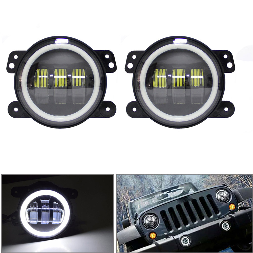 4 Inch Round Led Fog Lights 30W 6000K White Halo Ring DRL Off Road Fog Lamps For Jeep Wrangler JK TJ LJ