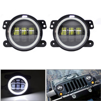 4 Inch Round Led Fog Lights 30W 6000K White Halo Ring DRL Off Road Fog Lamps For Jeep Wrangler JK TJ LJ