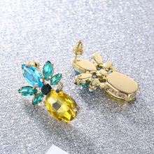 CARSINEL Brand Long Pineapple Stud Earrings For Women Gold color Green Zircon Crystals Earrings female Wedding Jewelry ER0294(China)