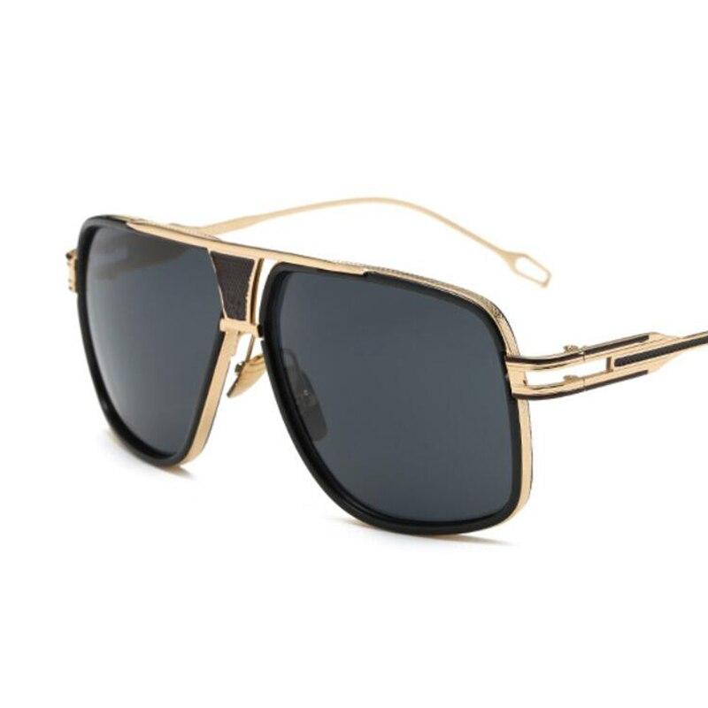 Men Fashion Square Sunglasses Mirror Shades Metal Big frame Vintage Br