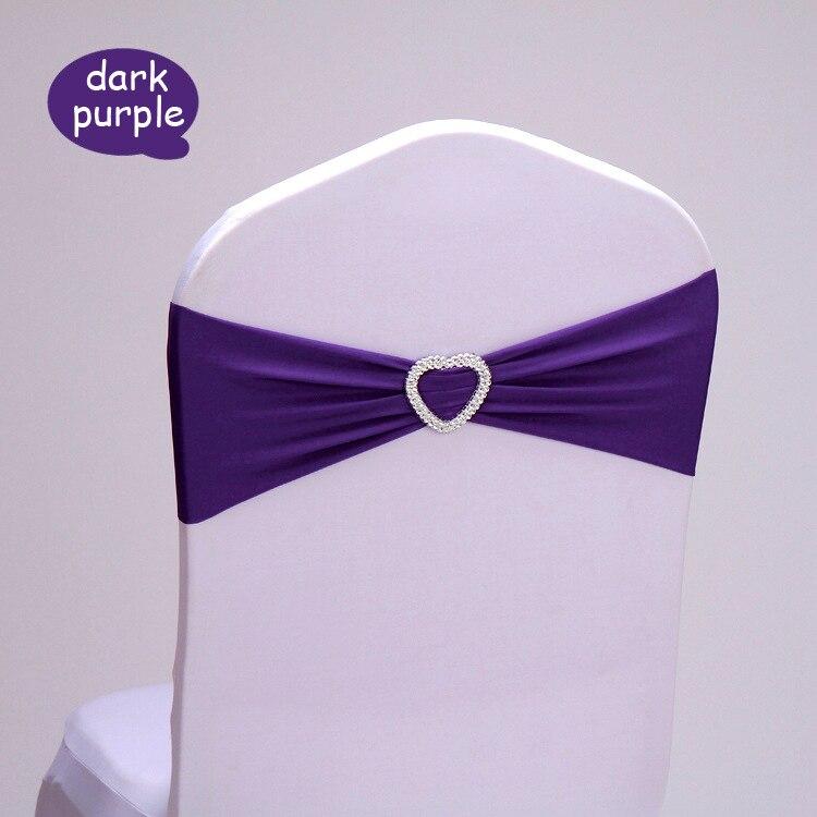 100pc/lot Dark Purple Spandex Chair Sash Band For Wedding with Heart Buckle Elastic Wedding Chair Sash Birthday Chair Decoration