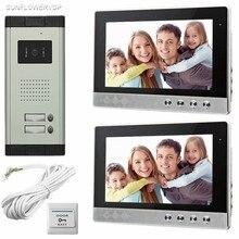 """SUNFLOWERVDP 2 цветные мониторы 1"""" видеофон 700 линий CCD HD камера дверного звонка для 2 видео дверной дом квартиры ночного видения"""