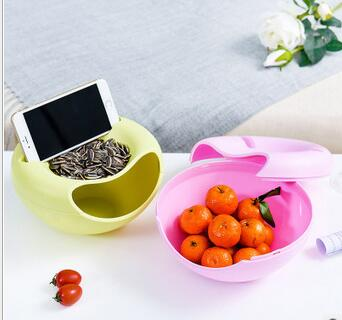 2pcs Double-layer Food Snack Box Dry Fruit Containers Desktop Organizer Snacks Seeds Storage Box Nuts Candy Plate Phone Holder ...