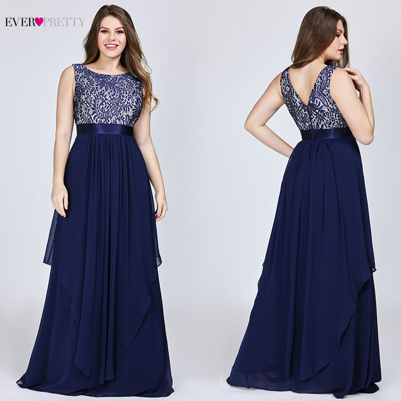 Ever Pretty Plus Size Evening Dresses 2019 Lace A line Chiffon Sleeveless Long Women Party Holiday