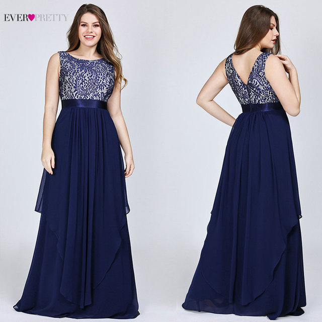 45ce6a32c95 Ever Pretty Plus Size Evening Dresses 2019 Lace A-line Chiffon Sleeveless  Long Women Party Holiday Prom 8217 vestidos de fiesta