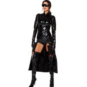 Черные костюмы, облегающий Тренч, костюм Нео, готический, стимпанк, искусственная кожа, воротник-стойка, для ролевых игр, Тринити, латекс, кос...