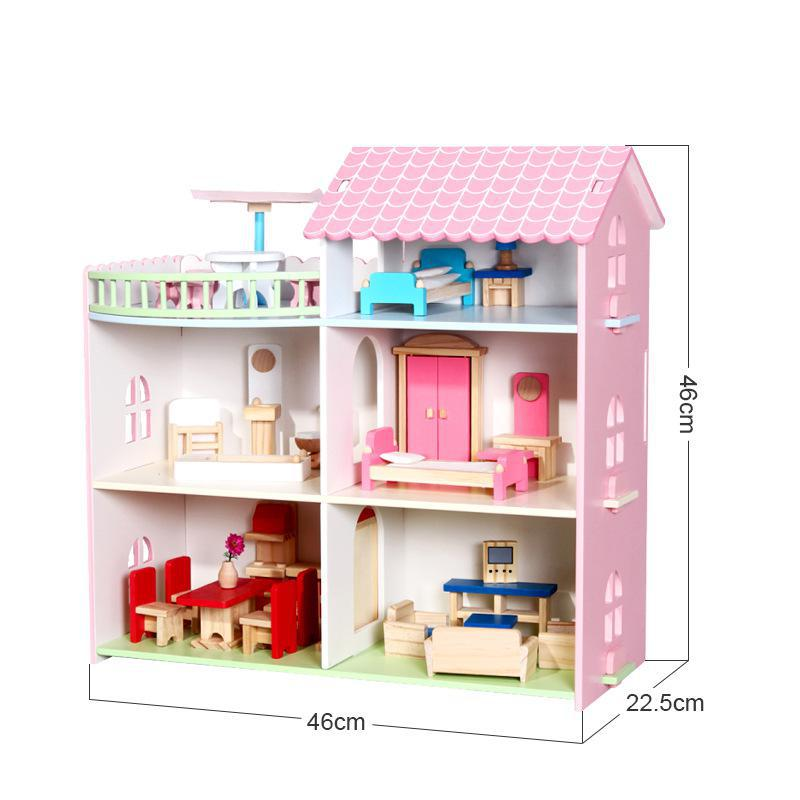 Doll House Simulation Room Wooden Doll House Girl Birthday Gift Furniture Wooden Toy House монитор iiyama 24 prolite b2483hs b3 черный b2483hs b3