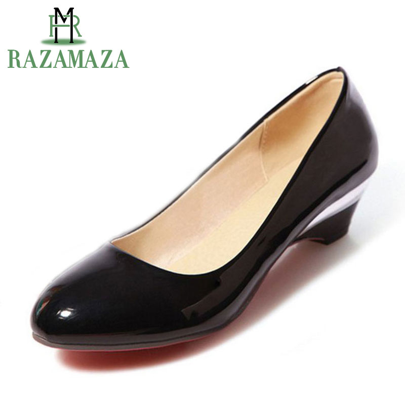 RAZAMAZA Size 32-48 Sexy Lady High Heel Shoes Women Round Toe Patent Leather Heels Pumps Office Lady Party Shoes Women Footwears kemekiss size 32 45 women concise pumps square toe high heels shoes solid office lady thick heel pump party wedding footwears