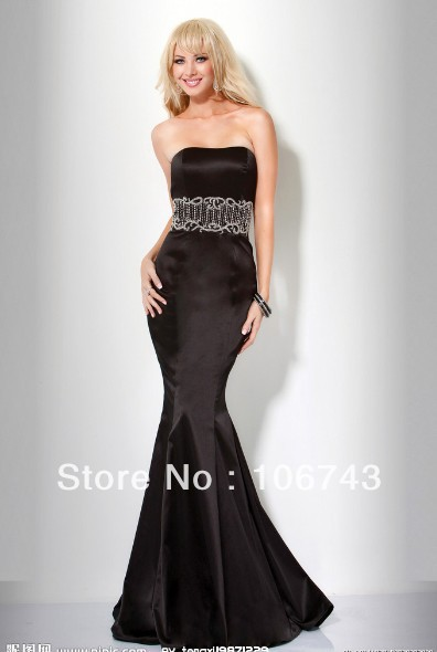 free shipping 2016 new fashion brides fishtail vestidos robe de soiree crystal sexy black long prom party gown   evening     Dresses