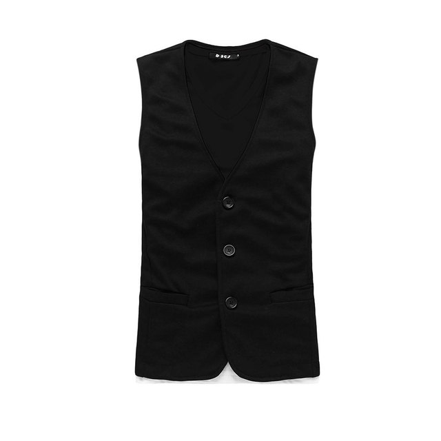 Allegra K Mens Black Stylish Deep V Neck Sleeveless Three Buttons Front Casual Vest Xl