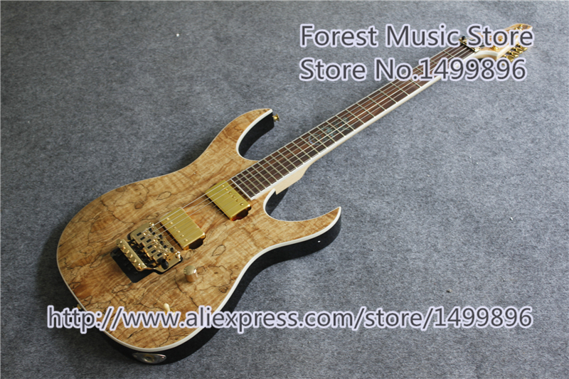 China Custom Shop Natural Wood Electric Guitar Lizard Inlay & Gold Floyd Rose Tremolo For Sale hot selling china quilted finish musicman ax 40 electric guitar with chrome floyd rose tremolo for sale