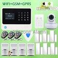 Iphone Android control cableado inalámbrica Wifi GSM GPRS casa Sistema de alarma de seguridad w mascotas Sensor de movimiento y cámara WIFI