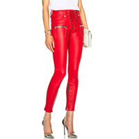 Jeans Women 2016 Fashion Pu Leather Patchwork Pants Denim Skinny Pencil Pants Zip Decorate RED Black Trousers