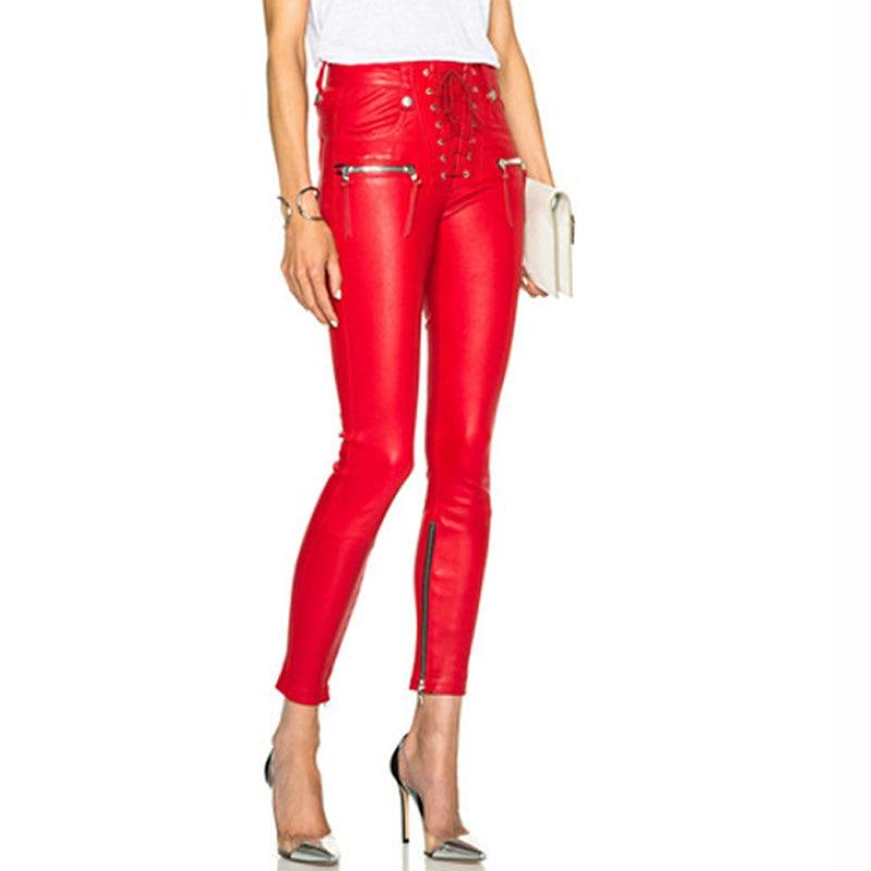 Jeans Women 2016 Fashion Pu Leather Patchwork Pants Denim ...