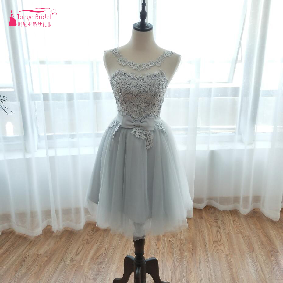 Lace Knee Length Short Bridesmaid Dresses Silver high Quality In Stock Real Wedding Party Gowns African Cheap Formal Dress ZB011