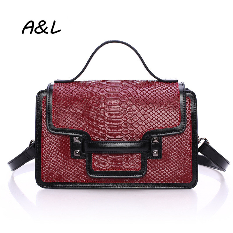 2016 Brand Designer Snakeskin Pattern Handbag Women Genuine Leather Shoulder Messenger Bag Lady New Fashion Crossbody Bag A0042 free shipping new fashion brand women s single shoulder bag lady messenger bag litchi pattern solid color 100