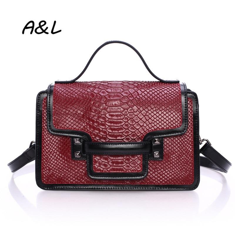 2016 Brand Designer Snakeskin Pattern Handbag Women Genuine Leather Shoulder Messenger Bag Lady New Fashion Crossbody Bag A0042