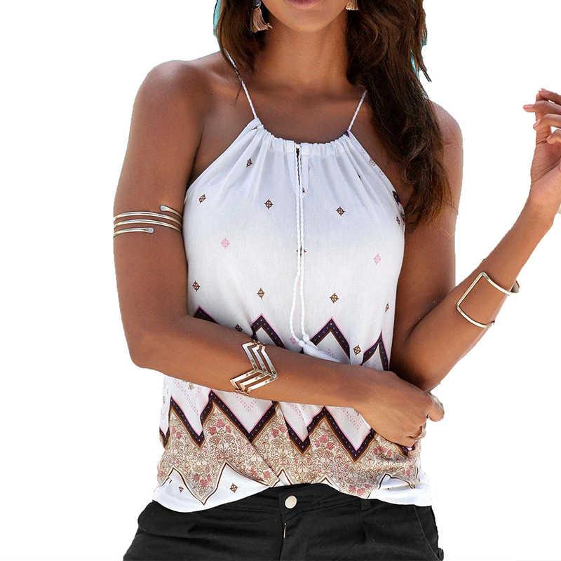 Summer Fashion Women Camisole Bohemian Print Halter Loose Tanks Female Sleeveless Casual Tops Vests V-neck Beach Camis Ladies