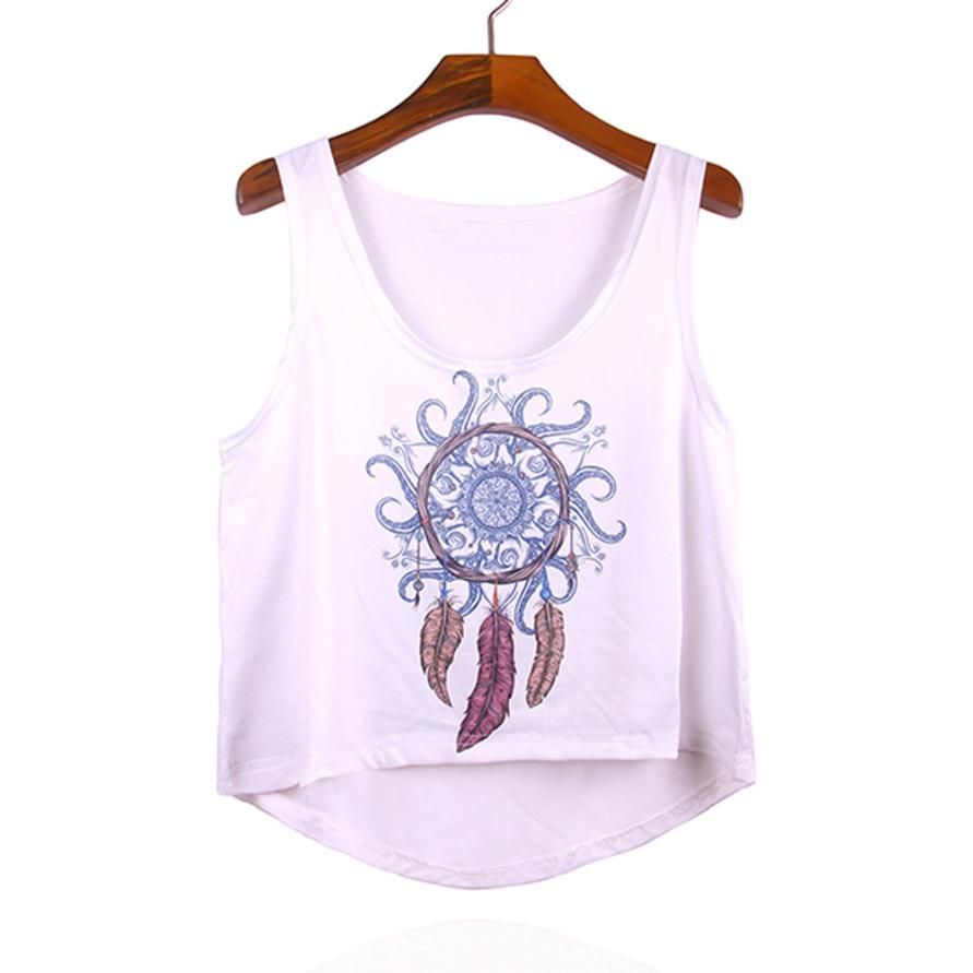 Women Dreamcatcher Printed Sleeveless White Tops Crop Tank Vest Tee July 15 Backless Fitness Sexy Top Tank Top Women 2018