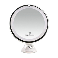 10X Magnifying Lighted LED Makeup Mirror Portable Hand Vanity Home Tabletop Bathroom Power Locking Suction Cup 360 Degree Swivel