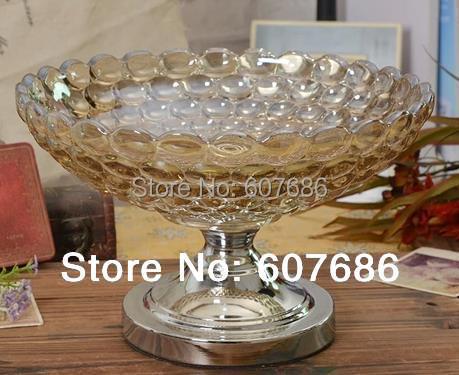 Large Gl Tea Color Fruit Bowl With Metal Silvery Black Pedestal Display Holder Serving
