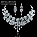 Gorgeous New Arrival Bridal Jewelry Set High Quality Luxury Wedding Accessories Bridal Earring + Necklace Jewelry Sets TL205