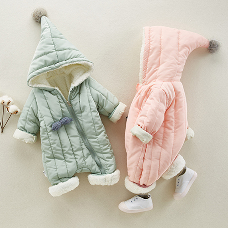 Baby Rompers Autumn Winter Baby Girls Boys Clothes Fleece Rompers Cute Thick Jackets Warm Hood Jumpsuits Newborn Infant Clothing