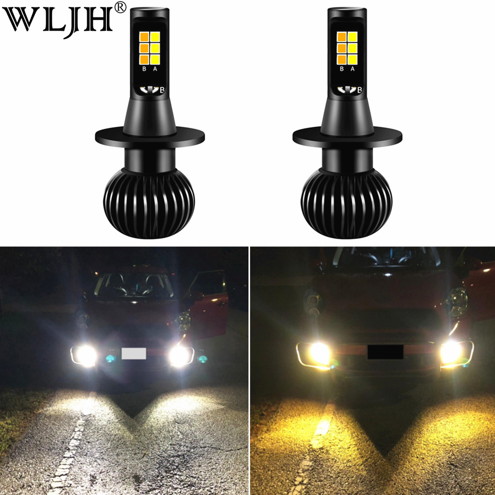 Us 18 73 25 Off Wljh 2x H7 Led Fog Lights Bulb Drl Dual Color Fog Lamp All In One Conversion Kit 3000k Amber Yellow 6000k White 2 Years Warranty In
