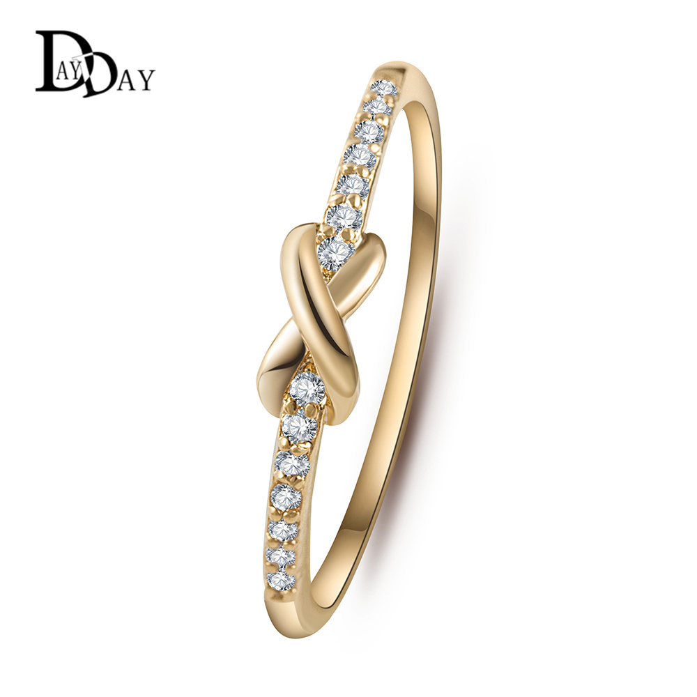 Simple Design Gold Plated Cross infinity Crystal Wedding Ring anel ...