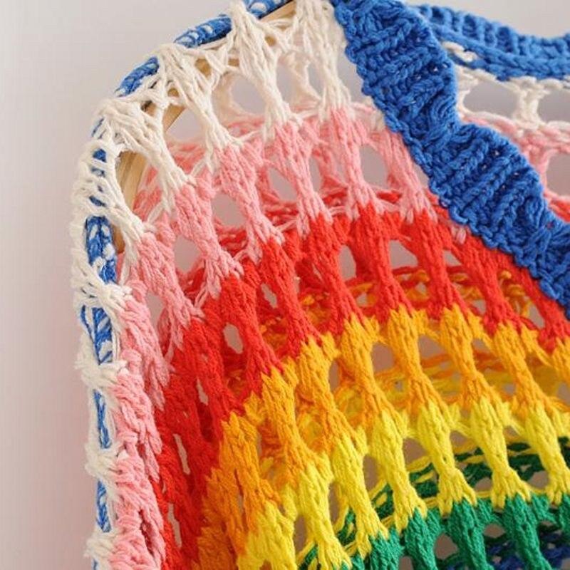 Pullover Scollo Donne Maglia Con Maglione Inizio Dress Harajuke Della Long Rainbow Arcobaleno Fit V 2019 Jumper Del Autunno Delle Lavorato Signora Loose Mano Femminile Nuovo A AnOq7AYw0P