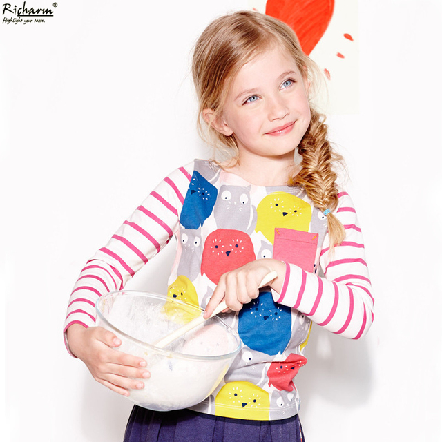Marca de moda Roupa Dos Miúdos Bonitos Meninas Outono T Shirt do Desenhista Meninas Da Criança Do Bebê Roupas de Algodão de Manga Comprida T Camisas
