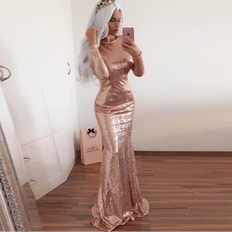 Glamorous Long Sleeves Mermaid   Bridesmaid     Dresses   2018 Simple Sequined frican Bridal Prom   Dress   Party Gowns Maid Of Honor   Dress