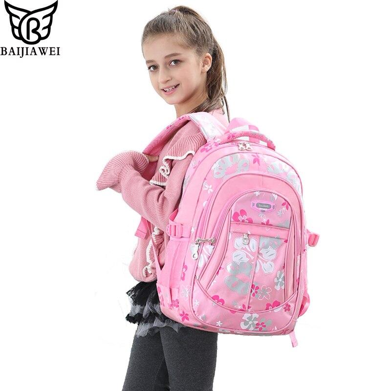 eab37fb611fb BAIJIAWEI Children School Bags Backpack Printing Wear-resistant Schoolbag  Kids Lovely Backpacks For Teenage Girls Boys Bags