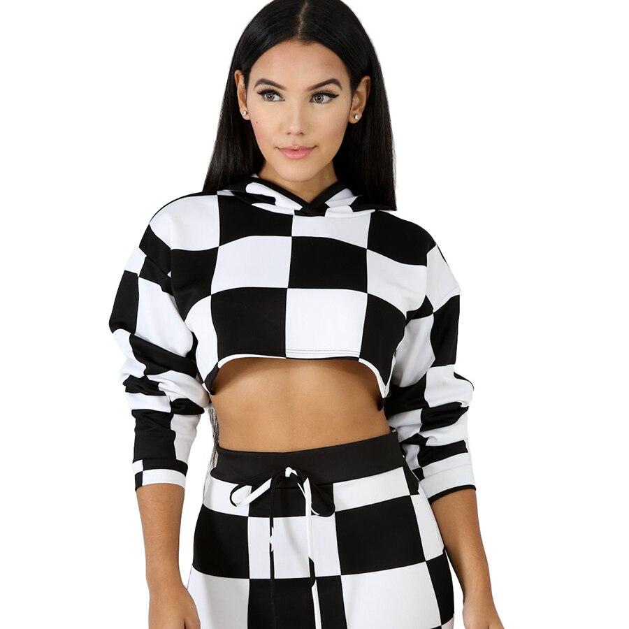 Poleron Mujer Con Capucha Moleton Feminina Con Capucha 2019 Ariana Grande noir et blanc vêtements sweat à capuche court 5Zc0311F