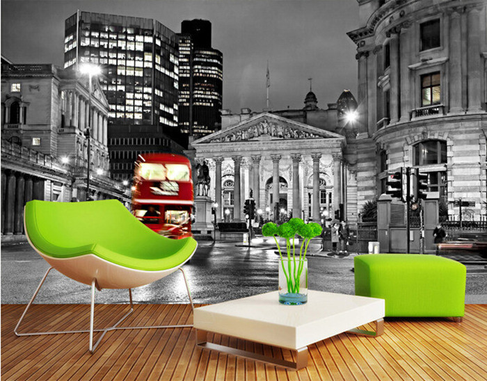 The latest 3D murals, black and white streets of European cities at night  , living room TV sofa bedroom background wall paper the custom 3d murals the new york times center building street black and white living room sofa tv wall bedroom wall paper