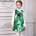 Bata Enfant Fille Niños Vestidos para Niñas Clohtes con Estampado Tropical 2017 Marca Niños Vestido de Lentejuelas Traje de Princesa