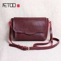AETOO Original New Handmade Split Leather Handbag Women Retro Mini Bag Envelope Bag Shoulder Bag Japanese