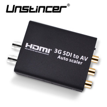 UNSTINCER HD 3G SDI to CVBS Converter Auto Scaler Support 1080P L/R Audio Output SD-SDI HD-SDI  Signal to Normal TV
