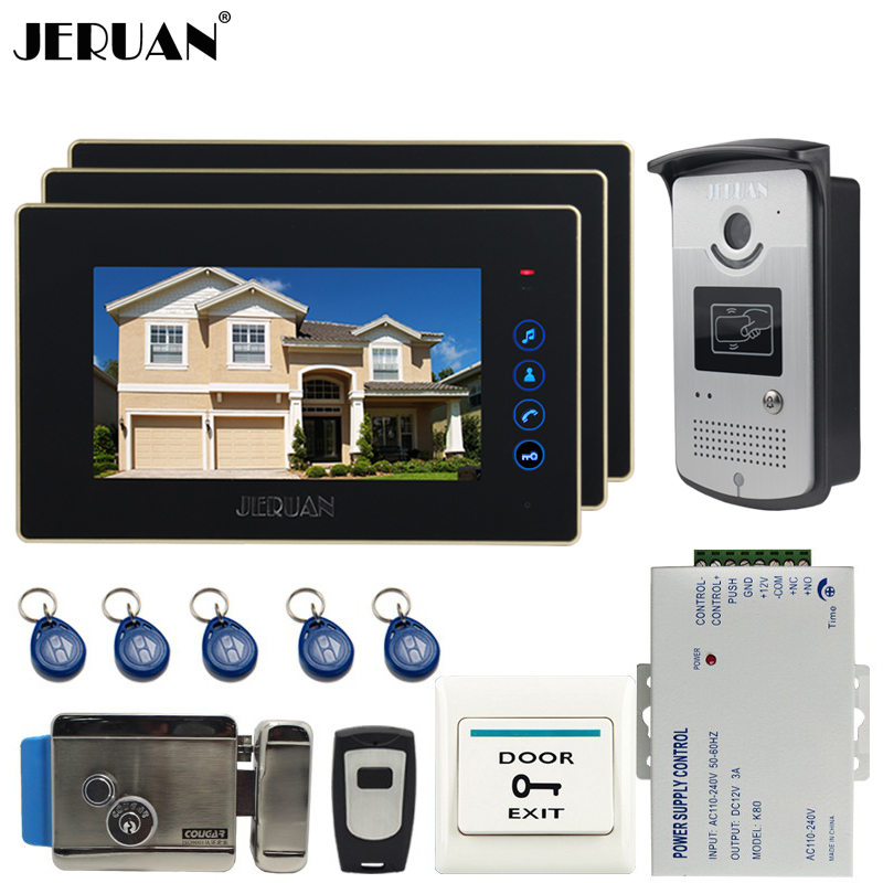 JERUAN New 7 inch touch key Color Screen Video DoorPhone Intercom System 3 Monitor +700TVL RFID Access Camera For 3 house brand new 7 inch color screen video doorphone sperakerphone intercom system 1 monitor 700tvl coms camera free shipping