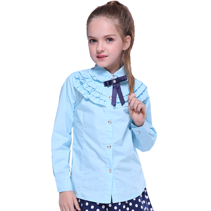 Kids   Blouses   For Girls   Shirts   Autumn Tops Fashion Girls Long Sleeve School Uniform Ruffles Children Clothing Teenage   Blouse
