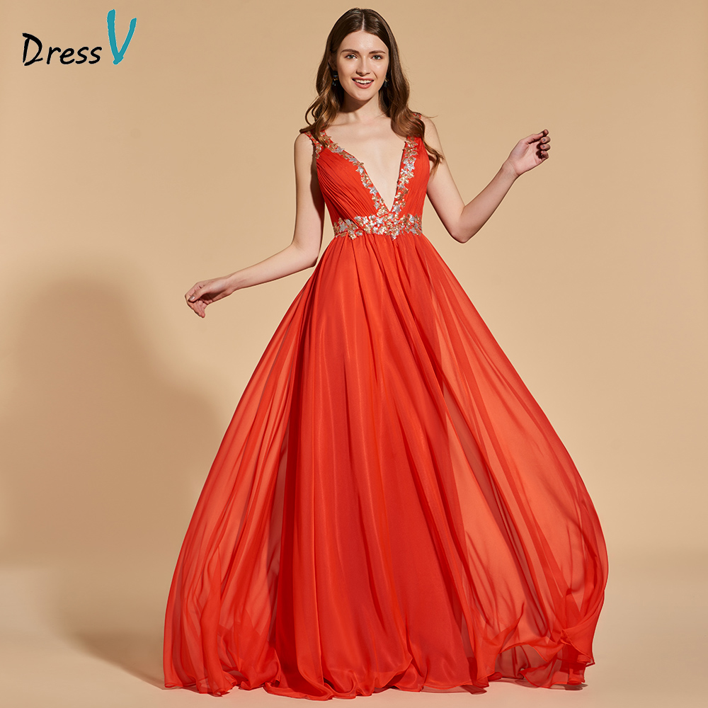 Dressv organge red elegant long prom dress v neck floor length backless evening party gown prom dresses beading customize