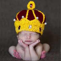 Marka noworodka śliczne niemowlę ręcznie tkane materiały dla dzieci boże narodzenie w wieku 0-3 miesięcy wełny Cap najlepsze fotografia kapelusz można wybrać P rince C rown