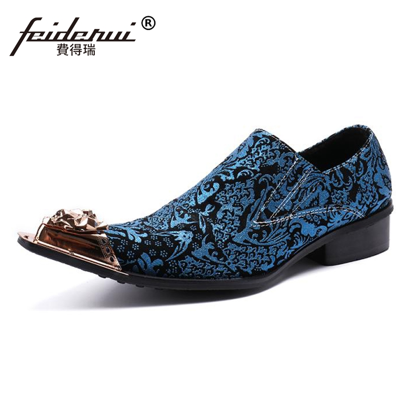 Plus Size Blue Pointed Toe Slip on Man Loafers Genuine Leather Height Increasing Runway Wedding Party Luxury Men's Shoes SL94 plus size pointed toe slip on man glitter punk loafers luxury genuine leather studded wedding party men s runway shoes sl31