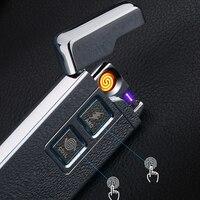 2017 Yeni 2 1 Bobin ve Ark Çakmak Akıllı Elektronik USB Çakmak Çift amaçlı Dokunmatik Indüksiyon Ateşleme Metal Çakmak