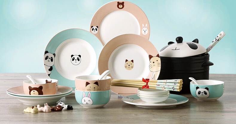 Korea Style Ceramic Kitchen Cutlery Sets Cute Creative Dishes 28 Pieces  Cartoon Bowl Plate Sets Ceramic