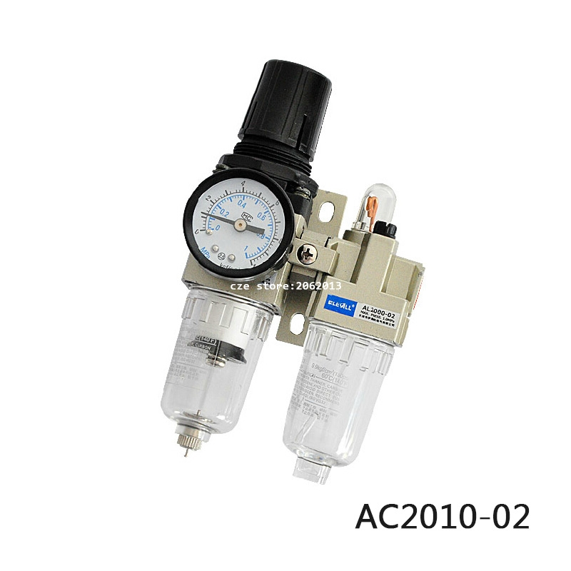 AC2010-02 Pneumatic Tools 1/4 inch Pneumatic FR Air Filter Regulator Combination AW2000-2 AL2000-2 Source Treatment Unit meite air tools mtc600 1 2 14ga wide crown 60 5mm pneumatic c ring gun hog combination pliers for big wire cage june 20 update