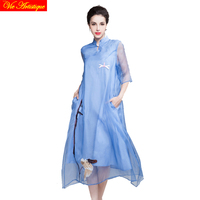 women's render Christmas skater dress lady's long casual office loose fit silk dresses blue white party floral 2018 summer VA