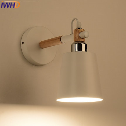 Iwhd Iron Arandela Wood Led Wall Light Modern Indoor Lighting Fixtures Sconce Creative Kitchen Stair Bar