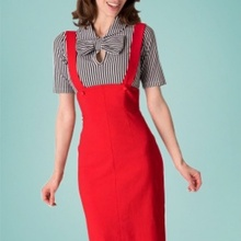 c343063e4eb 40- women vintage 50s pinup high waist jumper pencil skirt in red plus size  wiggle